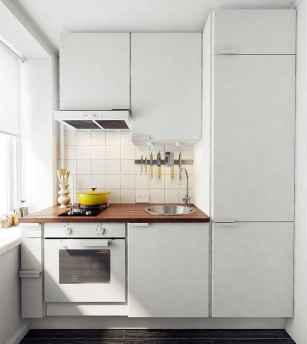 Кухня 5 кв. м со встроенным холодильником