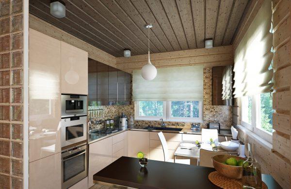 Кухня в современном стиле с тонированным потолком