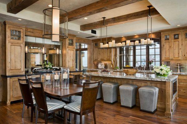 Кухня в стиле шале в деревянном доме