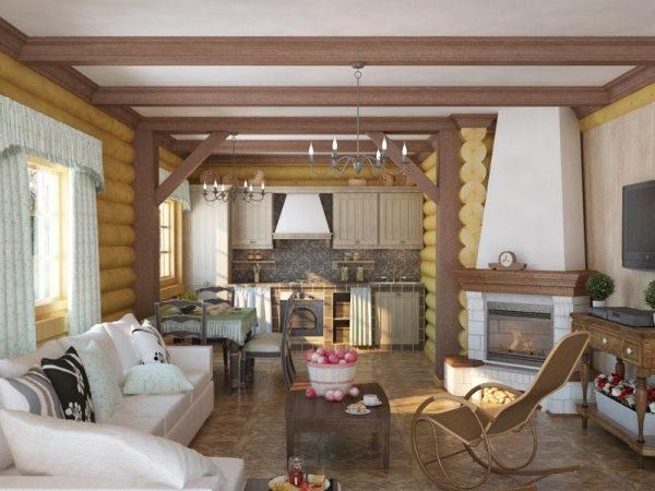 Зонирование деревянными балками на потолке