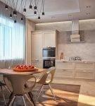 Комбинирование ламината и плитки на небольшой кухне