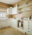 Клетчатые шторы в дизайне кухни в стиле кантри