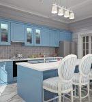 Голубая мебель на кухне в стиле прованс