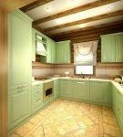 Светло-зелёная мебель на кухне в стиле прованс