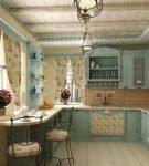 Характерный текстиль на кухне в стиле прованс