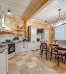 Стиль прованс в дизайне просторной кухни