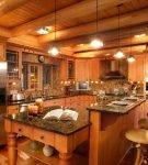 Кухня в стиле шале в частном загородном доме