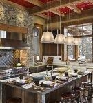 Интерьер кухни в стиле шале в деревянном доме