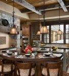 Кухня в стиле шале со столом оригинальной формы