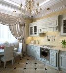Кухня в классическом стиле с односторонними шторами