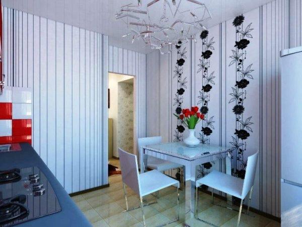 Чёрно-белые виниловые обои на кухне