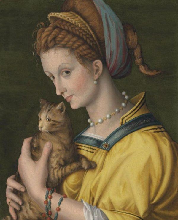Картина «Молодая дама с котом» итальянского художника Франческо Убертино