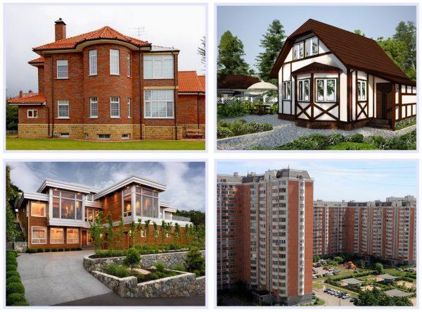 Фасады домов с эркерами