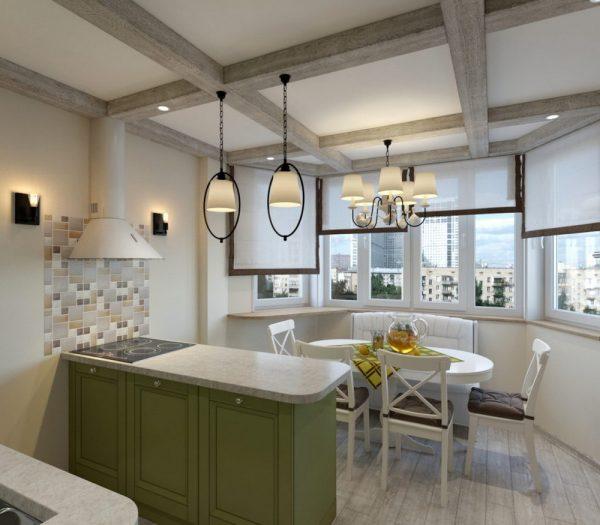 Кухня с эркером в стиле кантри