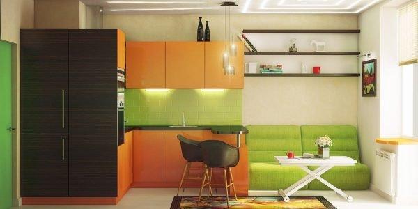 Салатовый и оранжевый цвета в интерьере кухни