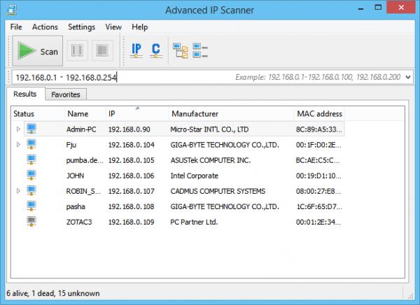 Программа «Advanced IP Scanner»