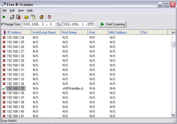 Приложение «Free IP Scanner»