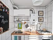 кухня с газовой плитой и колонкой