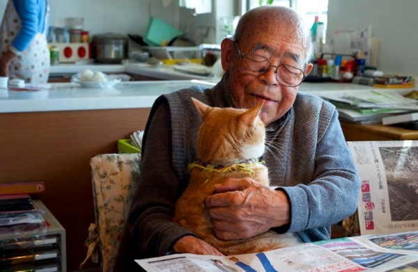 Дедушка с котом