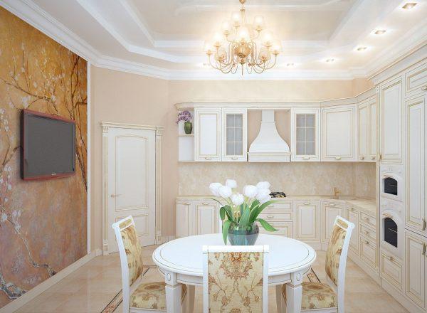 Светлая кухня с фотообоями и изящной люстрой