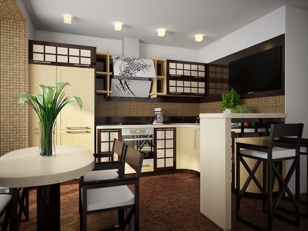 Небольшая кухня с дизайном в китайском стиле