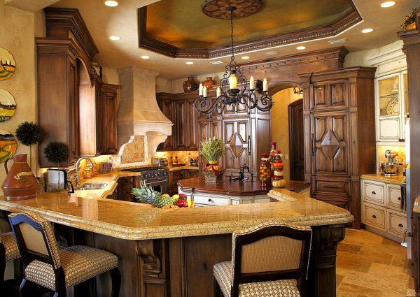 Мебель с филёнками на кухне в восточном стиле