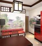 Интерьер кухни в китайском стиле с красными деталями