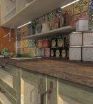 Яркий фартук из плитки в восточном стиле на кухне