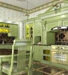 Фисташковая мебель с элементами в восточном стиле на кухне