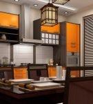 Двухцветная мебель в китайском стиле на кухне