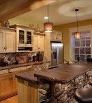 Кухня в стиле альпийской хижины