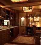 Освещение кухни шале
