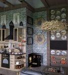 Камин в кухне шале