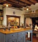 Кухонный очаг в интерьере шале