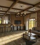 Дизайн кухни-гостиной в стиле шале
