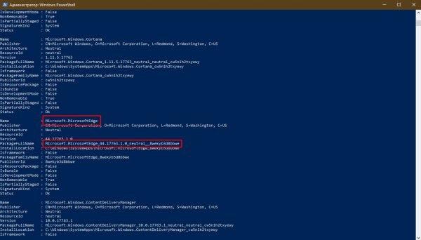 Как узнать полное имя браузера Edge