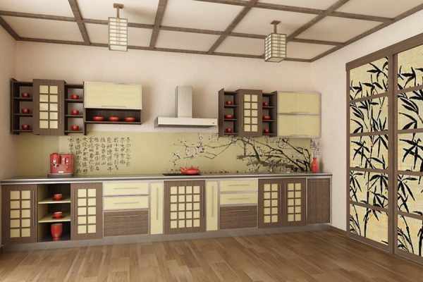 Потолок с балками на кухне в восточном стиле