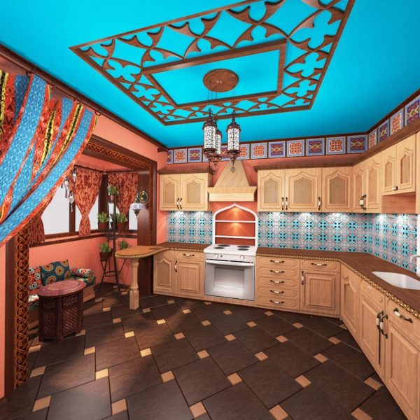 Орнамент на кухне в индийском стиле