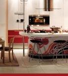 Большая кухня в китайском стиле с необычной мебелью