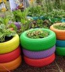 Покрышки в саду, выкрашенные в разные цвета