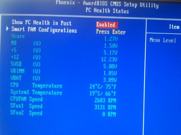 Температура в BIOS