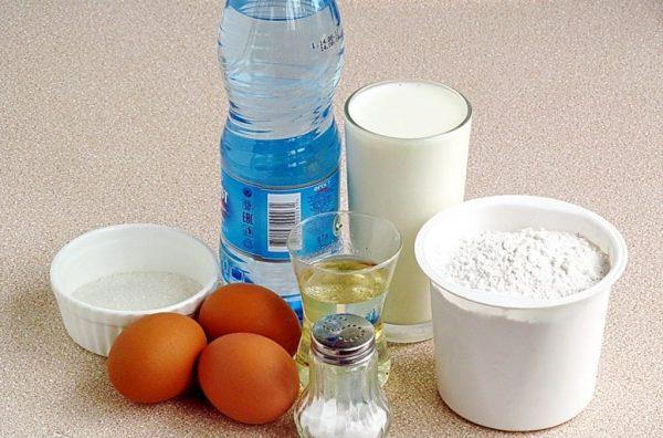 Минералка, молоко, мука, яйца, сахар, соль и масло