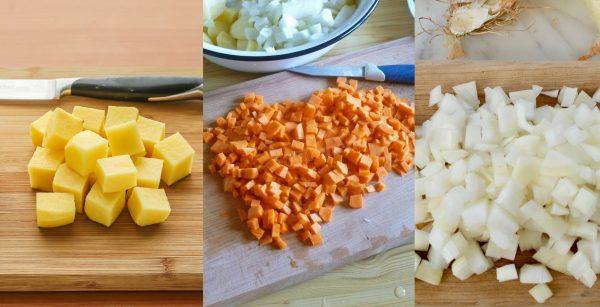 Картофель, морковь и лук нарезаны кубиками