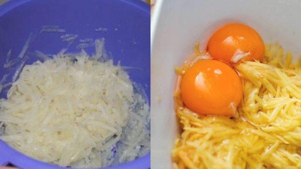 Тёртый картофель и яйца
