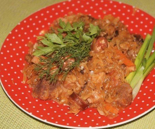 Польский бигос на красной тарелке с зеленью