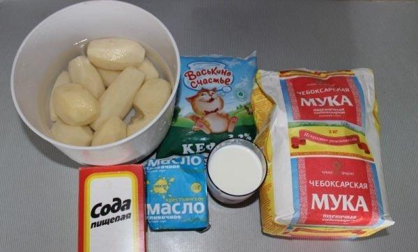 Продукты для приготовления татарских лепёшек с картофельным пюре