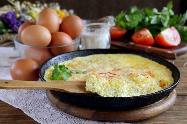 Яичница тортилья на сковороде