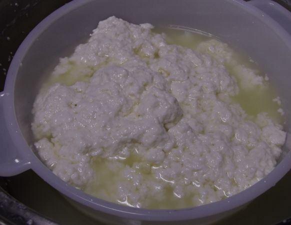 Створоженное молоко с сыворткой в пластиковой форме