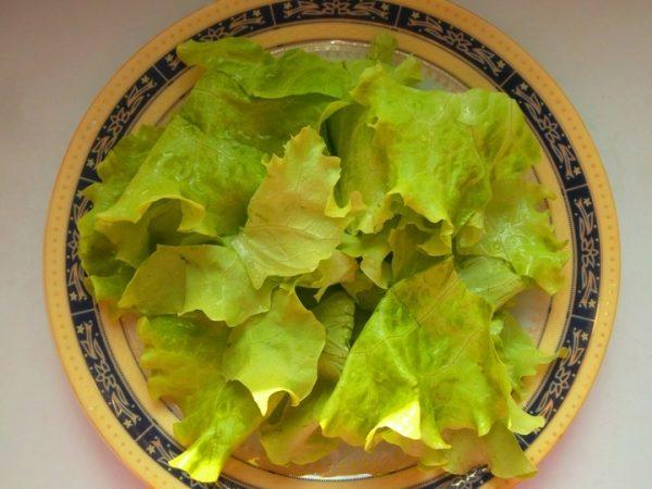 Кусочки салатных листьев в тарелке