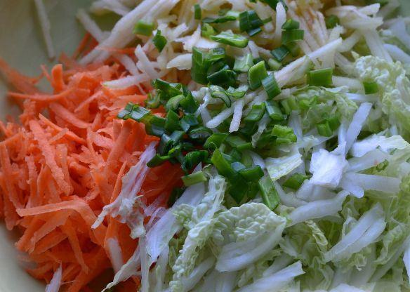 Пекинская капуста, морковь, яблоко и зелёный лук